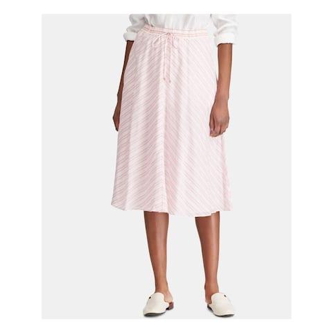 RALPH LAUREN Womens Pink Striped Midi Pleated Skirt Size 16