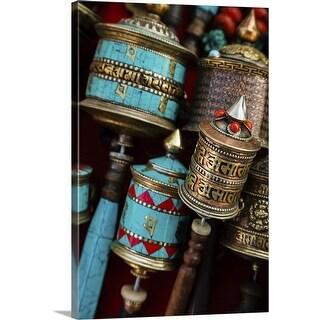 """Tibetan prayer wheels for sale, Kathmandu"" Canvas Wall Art"