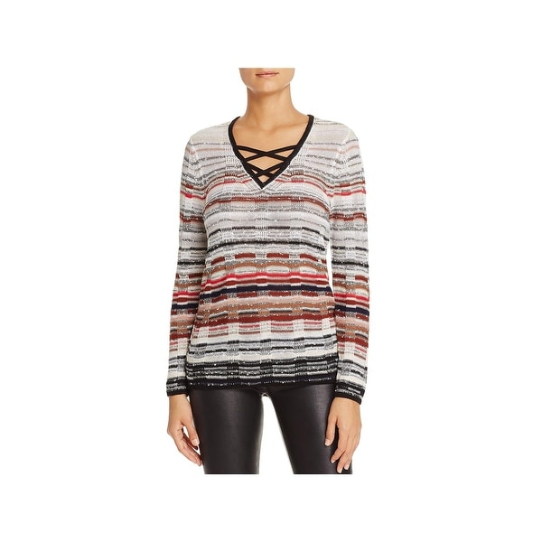 Nic + Zoe Womens Red Hills Pullover Sweater Crossover Strap V-Neck