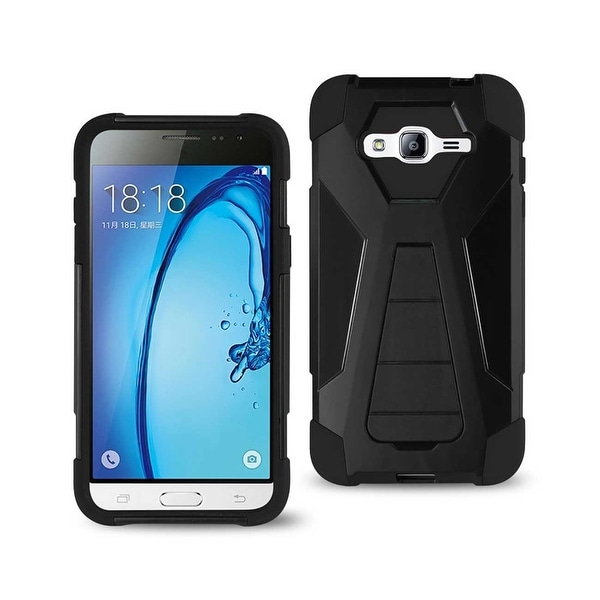 REIKO SAMSUNG GALAXY J3 HYBRID HEAVY DUTY CASE WITH KICKSTAND IN BLACK