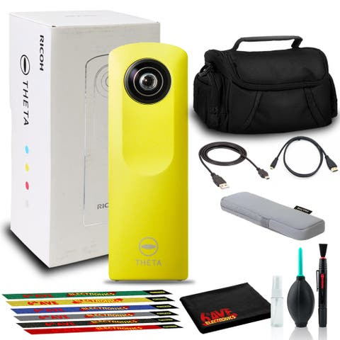 Ricoh Theta m15 Spherical VR Digital Cam (Yellow) with 6Pk Ties, Bag, and More