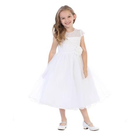 Little Girls White Corded Lace Pearl Bead Sequin Flower Girl Dress
