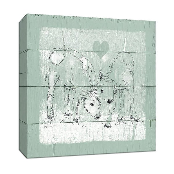 """PTM Images 9-147490 PTM Canvas Collection 12"""" x 12"""" - """"Friendly Calves II"""" Giclee Farm Animals Art Print on Canvas"""
