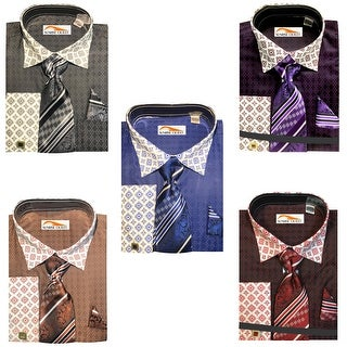 Men's Two Tone Contrasting Diamond Pattern Dress Shirt with Tie Hanky and Cufflinks