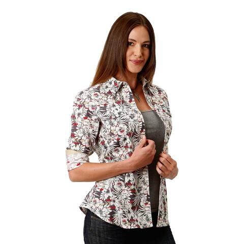 Roper Western Shirt Women L/S Snap Hawaiian Gray