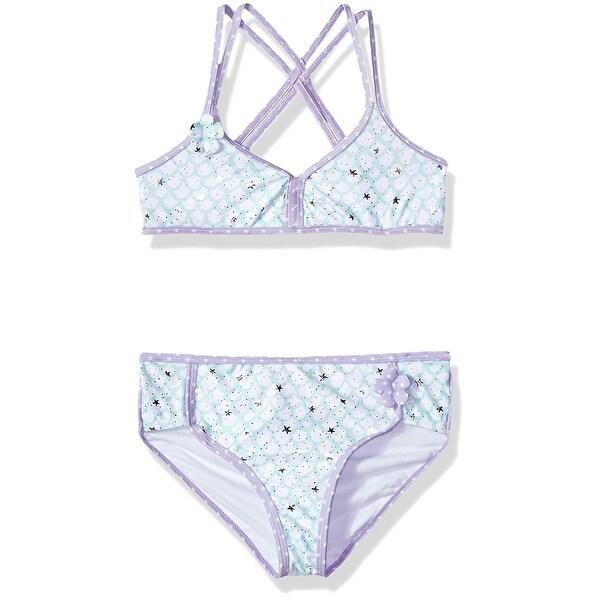 af2fe3c4b1 Jantzen Little Big Girls' Mermaid, Mermaid Lavender Floral Applique, Size 6  - Mermaid Lavender Floral Applique