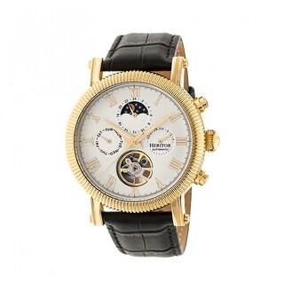 Heritor Winston Men's Automatic Watch, Genuine Leather Band, Sapphire-Coated Crystal