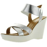 Top Moda Womens Cp-50 Strappy Open Toe Slingback Platform High Wedge Heel Sandals - Silver