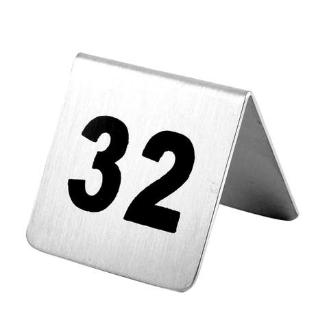 Restaurant Stainless Steel Free-standing Number 32 Table Sign Black Silver Tone