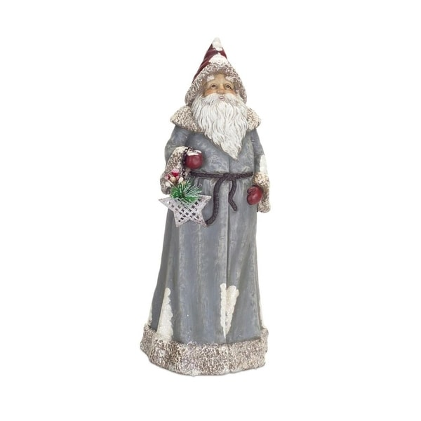 """Pack of 2 Tall Santa in Taupe Coat with Christmas Star 21"""""""
