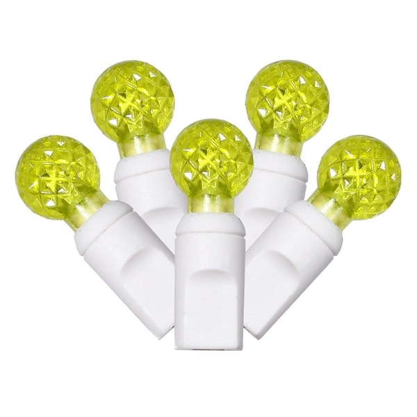 """Set of 100 Lime Green Commercial Grade LED G12 Berry Christmas Lights 4"""" Spacing - White Wire"""