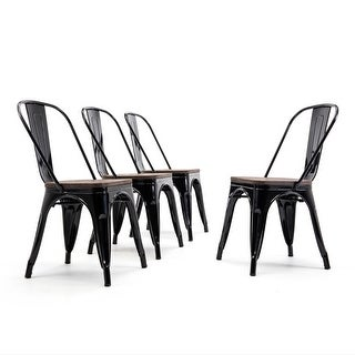 Link to BELLEZE Stackable Bistro Dining Chairs Set of (4) Wood Stool, Black Similar Items in Dining Room & Bar Furniture