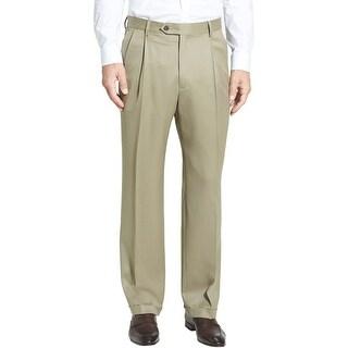Berle Mens Super 100's Wool Gabardine Pleated Front Dress Pants 30 Waist Beige