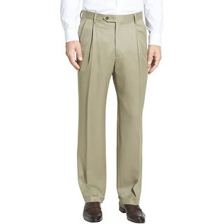 Berle Milan Super 100s Wool Gabardine Pleated Front Dress Pants Tan Beige 31
