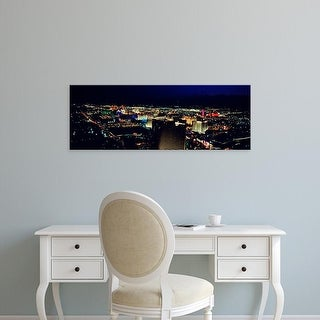 Easy Art Prints Panoramic Image 'High angle view of a city lit up at night, The Strip, Las Vegas, Nevada' Canvas Art