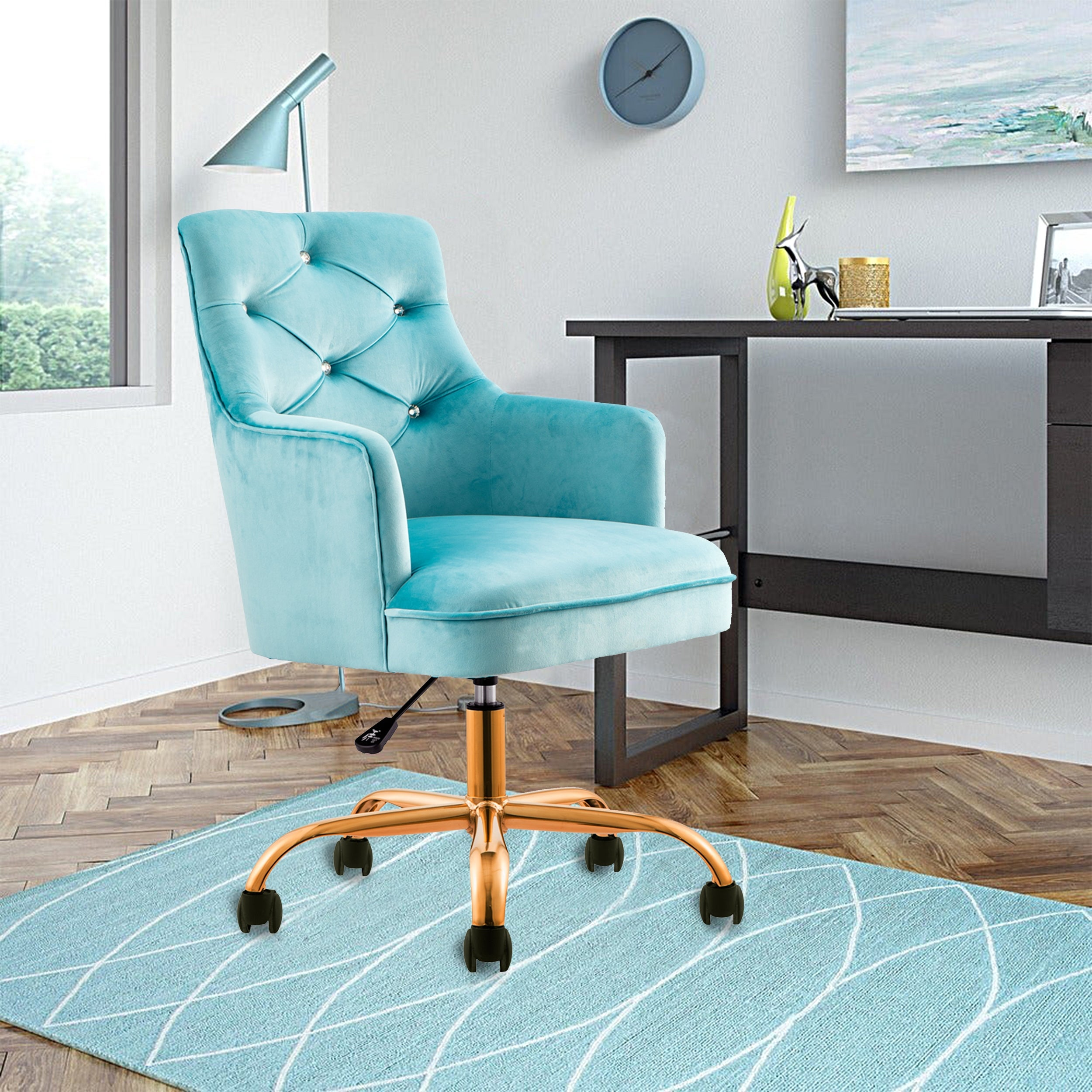 Shop Tufted Velvet Swivel Adjustable Home Office Chair Gold Glide Casters Overstock 31784230