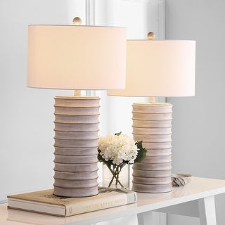 "Link to Safavieh Lighting Melina Grey LED Table Lamps (Set of 2) - 16""x16""x28.5"" Similar Items in Table Lamps"