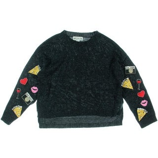 Wildfox Couture Womens Juniors Embellished Wool Blend Pullover Sweater