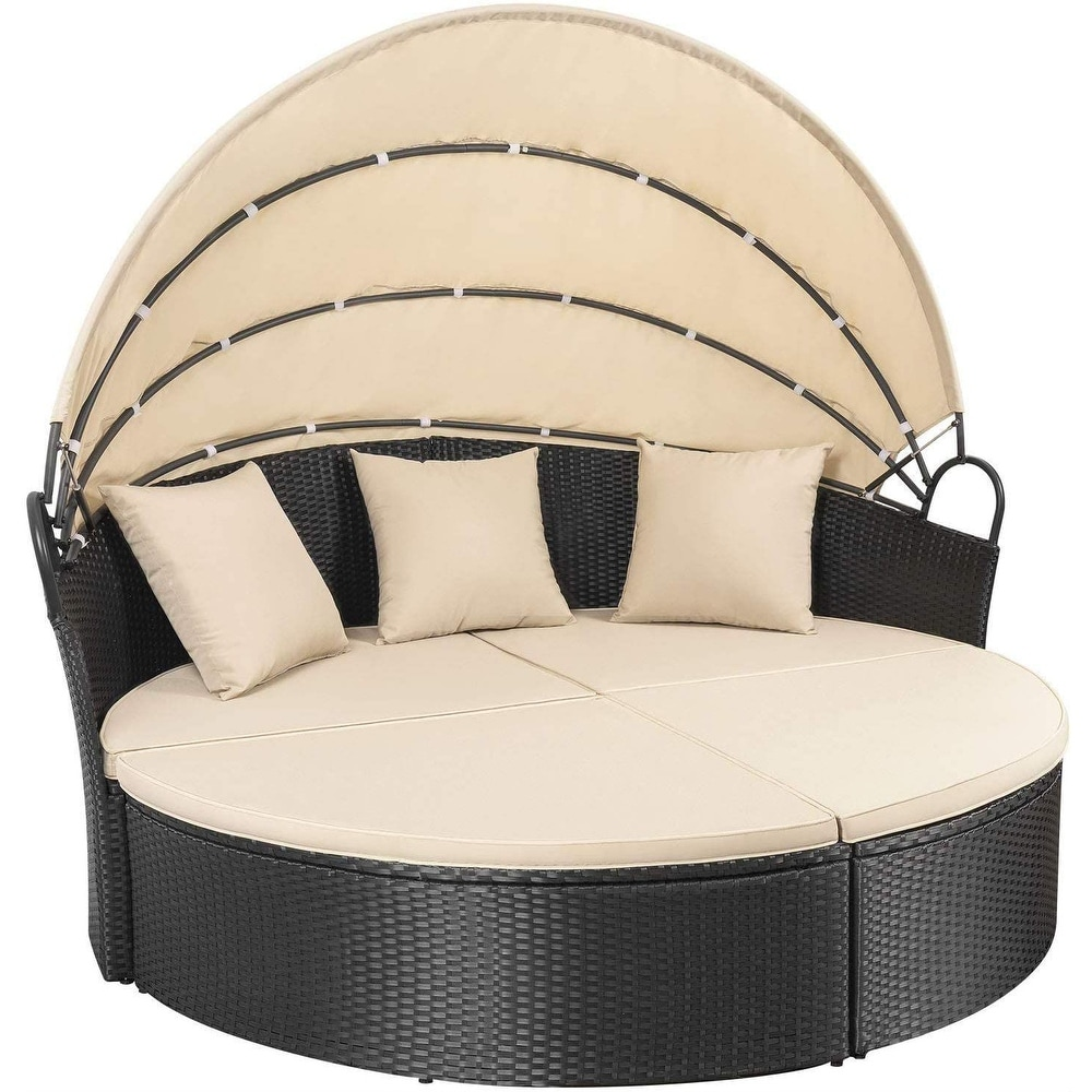 Homall Patio Furniture Outdoor Round Daybed with Retractable Canopy
