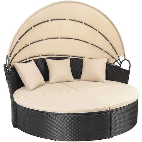 Homall Patio Furniture Outdoor Round Daybed with Retractable Canopy Wicker Sectional Seating with Cushions Separated Seating
