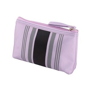 Lady Polyester Stripes Pattern Zip Up Cosmetic Pouch Bag Holder 7.1  Width