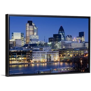 """""""Cityscape of the City of London at dusk"""" Black Float Frame Canvas Art"""