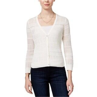 Maison Jules Three Quarter Sleeve Open Knit Sweater Cardigan - m