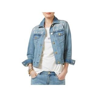 MICHAEL Michael Kors Womens Denim Jacket Jeweled Floral