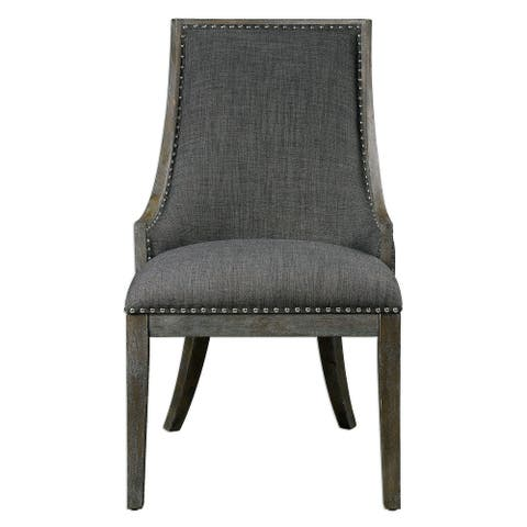 """Uttermost 23305 Aidrian 39"""" x 19"""" Solid Wood Side Chair - Charcoal Grey"""