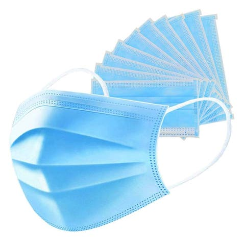 Homvare Disposable dust cover for face with ear loop, Extra Soft for Maximum Comfort- 3 Ply (Pack of 50) - Blue - 1 Pack