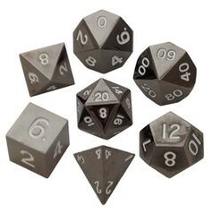 Metal Dice: 16mm Painted Polyhedral Dice Set of 7 - Sterling Gray