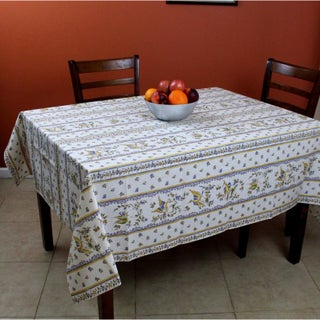 French Floral Provencal Round Tablecloth Rectangular Acrylic Coated Cotton Bird