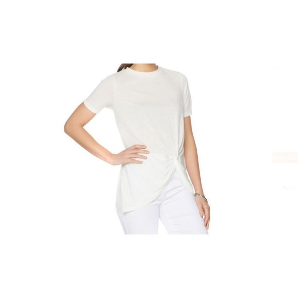 1c51a25f Shop DG Luxsport NEW White Ivory Womens Small S Knot Tee Crew Neck T-Shirt  - Free Shipping On Orders Over $45 - Overstock.com - 19490477