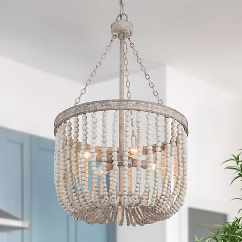 "Bohe 4-lights Wood Bead Chandelier Distressed Finish Fixture - D15.7""*H26.7"""