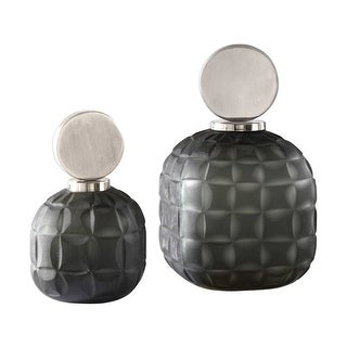 Set of 2 Nafuna Charcoal Glass Bottles
