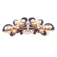 Unique Bargains Lady Rhinestone Inlaid Flower Design French Barrette Hair Clip Gold Tone Blue