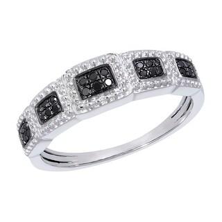 Prism Jewel 0.10Ct Round Brilliant Cut Black Diamond Wedding Band