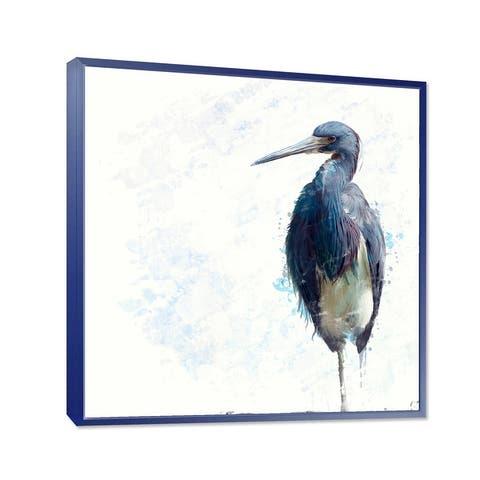 Designart 'Tricolored Heron Bird' Farmhouse Framed Canvas Wall Art Print