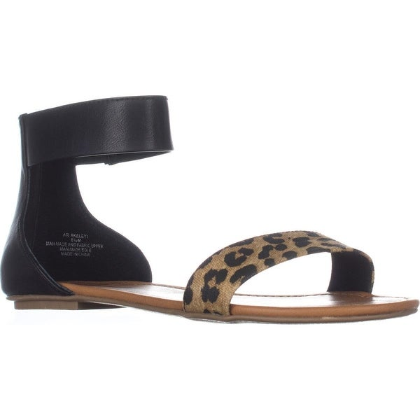 AR35 Keley Ankle Strap Flat Sandals, Cheetah/Black
