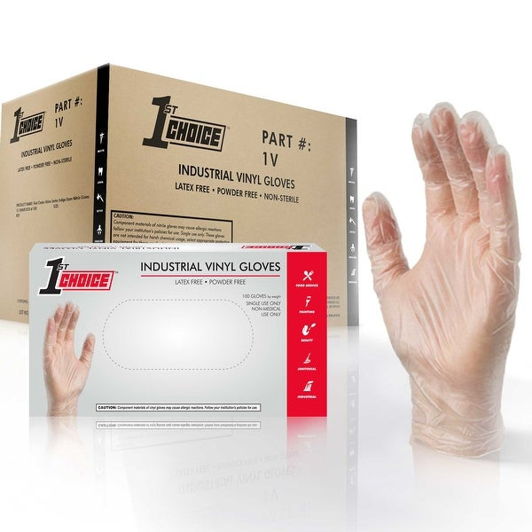 1st Choice Clear Vinyl Ind Latex Free Disposable Gloves Case of 1000