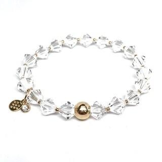 "April Birthstone Color White Crystal Rachel 7"" Bracelet"