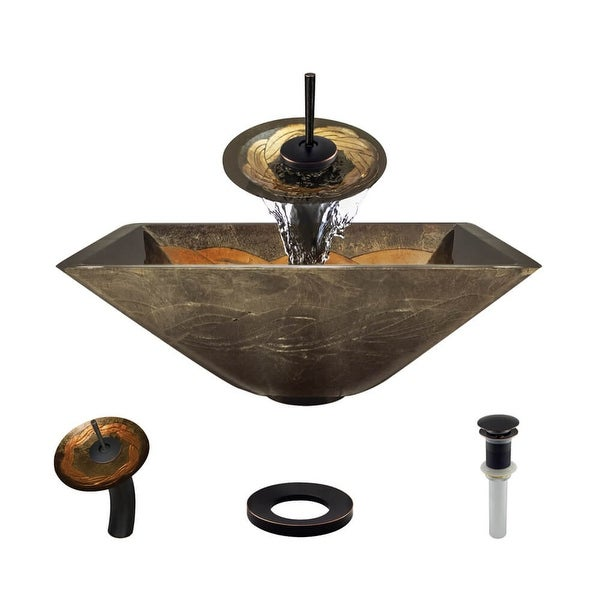 "Rene R5-5036-WF 16-3/4"" Glass Vessel Bathroom Sink with Waterfall Faucet, Sink Ring, and Vessel Pop-Up Drain"