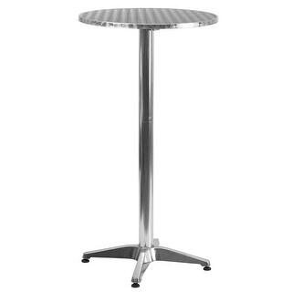 Skovde Round 23.25'' Aluminum Folding Bar Height Table w/Base for Patio/Bar