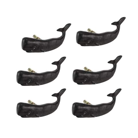 Set of 6 Black Painted Cast Iron Whale Drawer Pull Rustic Furniture Decor Knob - 1.5 X 2.75 X 1 inches