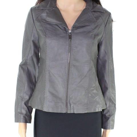 Alfani Gray Embossed Snakeskin Print Faux Leather Women's XS Jacket