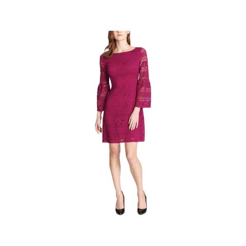 Tommy Hilfiger Womens Scuba Dress Bell Sleeve Lave Overlay