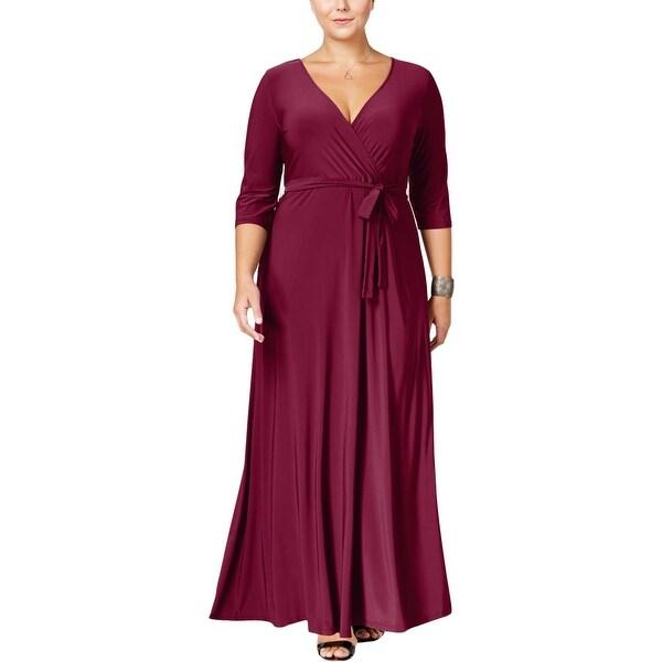 Love Squared Womens Plus Maxi Dress Surplice V-Neck