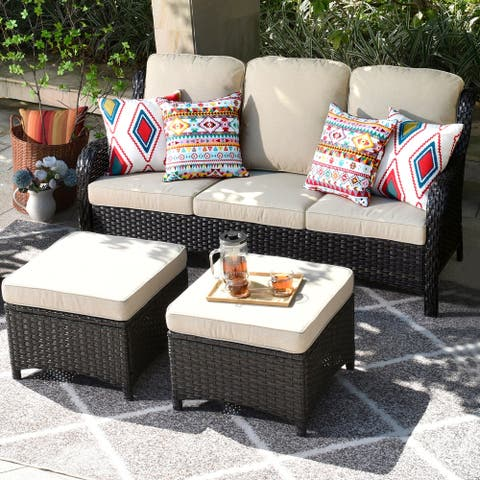 Ovios Patio Furniture Sets 3-piece Rattan Wicker Chair Sectional Sofa Set With Ottoman