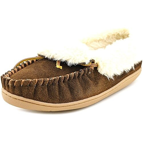 Minnetonka Womens Leather Round Toe Casual Slide Sandals, Chocolate, Size 11.0