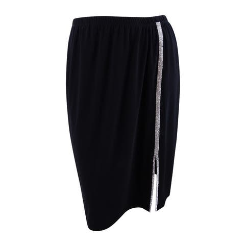 MSK Women's Embellished A-Line Skirt - Black/Silver